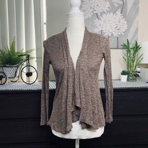 HAUTE Brown Flowy Assymetrical Cardigan SMALL